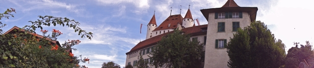 View back on the castle of Thun